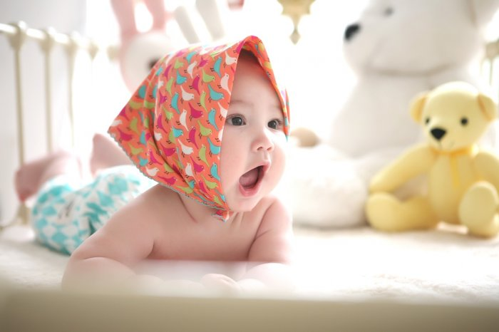 頭巾をかぶって発生している赤ちゃん