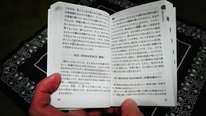 OSHO禅タロットミニ版の解説書。ラジニーシの講和と解説が書かれている。文字がメイン。